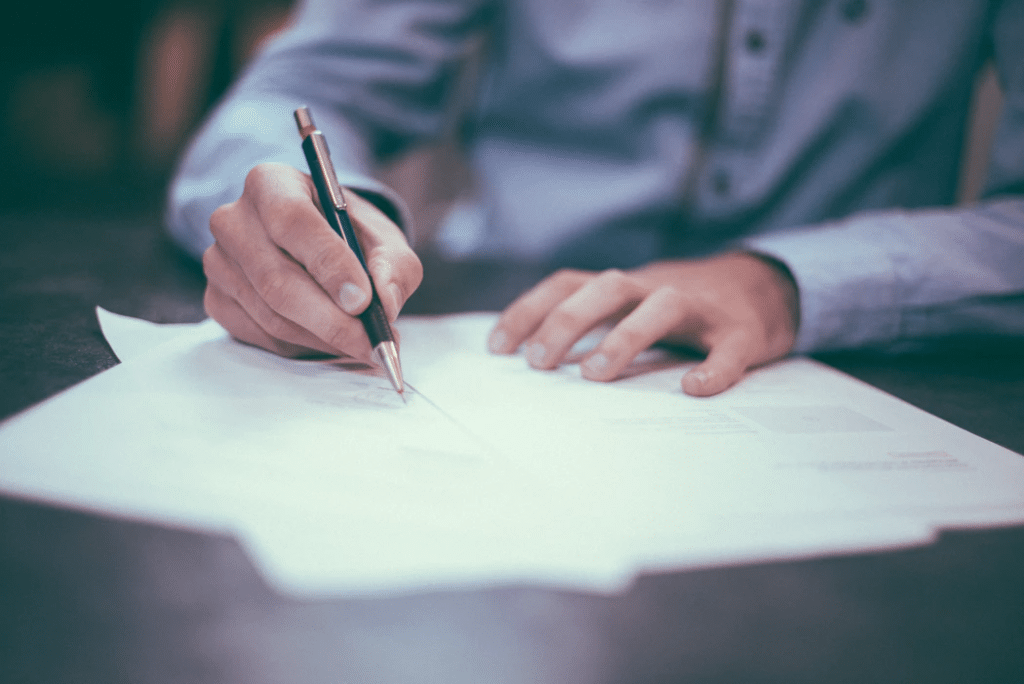 Man writing plans